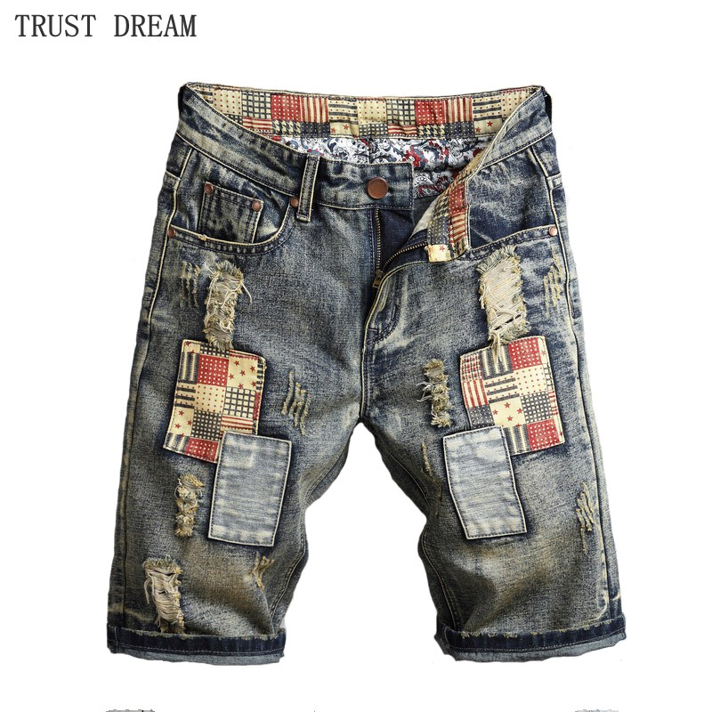 Summer Europeans Style Men Fashion Patchwork Beggar Slim Denim Short Vintage Ripped Hole Man Personal Causal Special Jeans Short ...