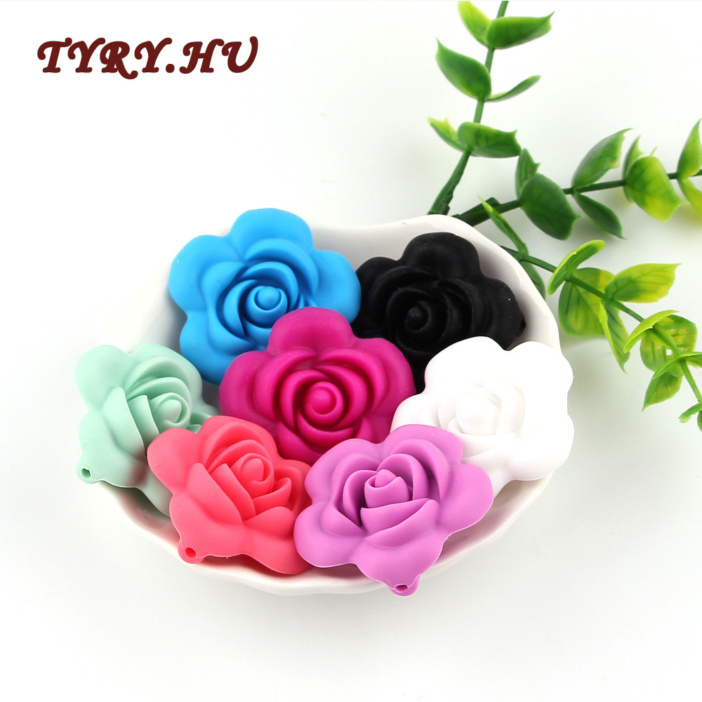 TYRY HU 100PC Beautiful Rose Flower Silicone Beads Materials Food Grade Silicone DIY Baby Teething Necklace