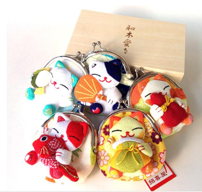 16 pieces Wholesale Japanese style Lucky cat coin purses coin bags Zero Wallet Japanese kimono fabric