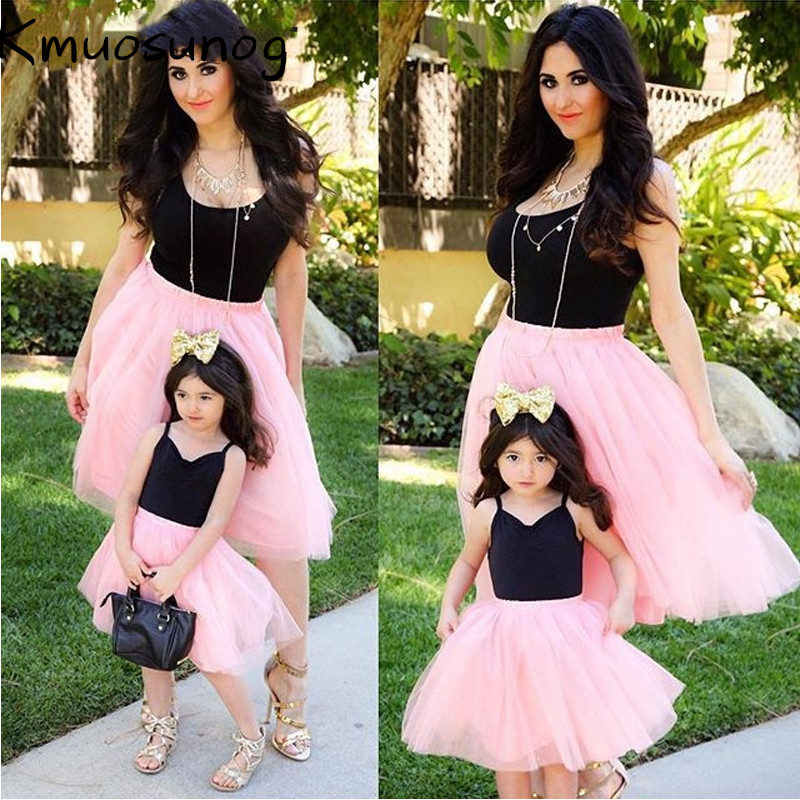4b4f3879c2eb2 Mother daughter dresses Pink Patchwork Mesh Princess Dress Mother and  daughter clothes Mom and Daughter Dress Family Look H0439