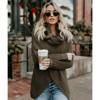 PEONFLY Casual Female Thick Knitting Cardigan Scarf Neck Irregular Tops Buttons Streetwear Women Solider Color Sweater