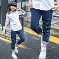 2017 spring and autumn hot fashion children's jeans 5-13 year old girl pure color splicing body stretch pants wild boy pants