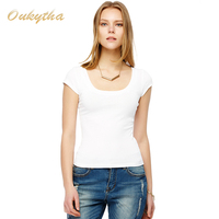 2016 New Korean Fashion Shirt U Collar Cotton Sexy Women T Shirt M16046
