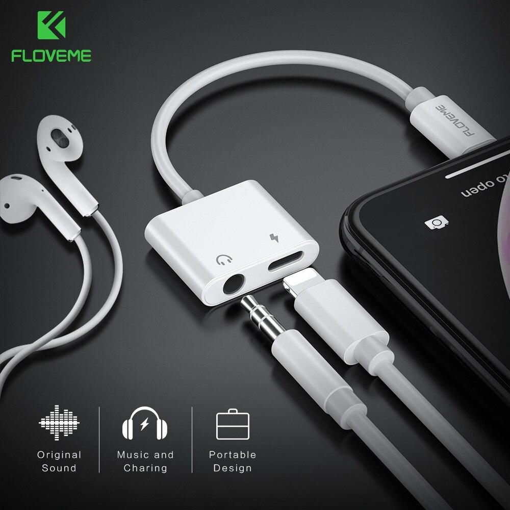 FLOVEME 2 in1 Adapter Für iPhone X XR XS MAX 7 8 Für Blitz Zu 3,5mm Audio Lade Splitter converter Jack Kopfhörer Adapter