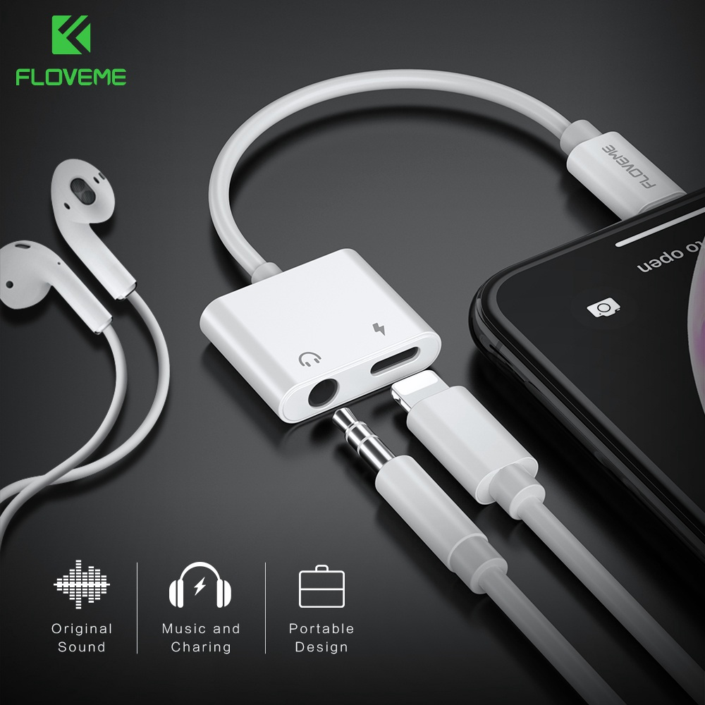 FLOVEME 2 In1 Adapter For IPhone X XR XS MAX 7 8 For Lightning To 3.5mm Audio Charging Splitter Converter Jack Earphone Adapter