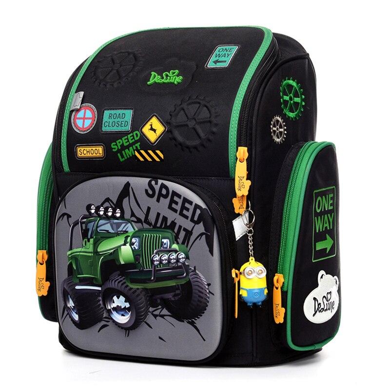 Delune 2019 3D Cartoon Tank Pattern Backpack for Girls Boys School Bag Waterproof Children Orthopedic Backpacks