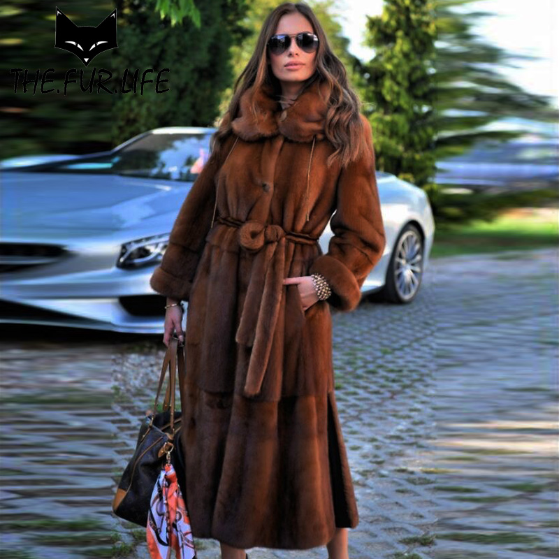 Wholeskin Pelliccia di Visone Cappotti Per Le Donne Creative di Usura Su Entrambi I Lati Natura Pelliccia di Visone Giubbotti Reale Fur X-lungo vestiti caldi di Inverno 2018
