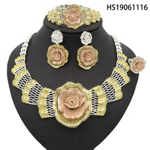 Yulaili Dubai Gold Jewelry Sets Rose Flower Shape Design Women Necklace Earrings Fashion Wedding Engagement Accessory