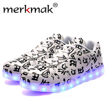 Merkark 2017 Men Shoes Size 35-46 Superstar Musical Note Glowing Tone Led Shoes For Adult Men Luminou Light up Chaussures Hommes