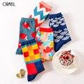 1 Par Colorido Hombres Mujeres Algodón Calcetines Divertidos Lindo Estilo Británico Informal Harajuku Marca Novedad de La Manera Arte Para Pareja