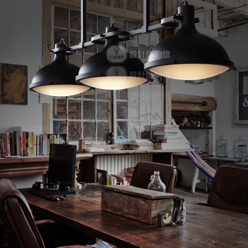 Loft 3 Round Black Iron Pendant Lamps American Country