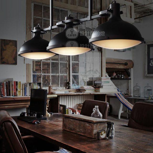 Loft 3 Round Black Iron Pendant Lamps American Country ...
