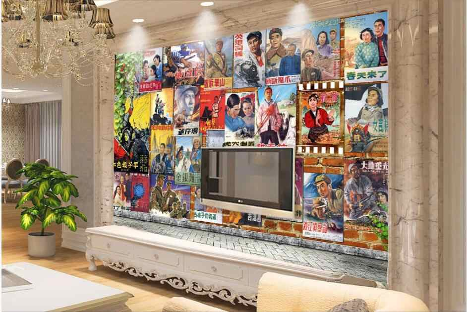 3d комната обои на заказ фото китайский стиль HD старый ретро-постер к фильму винтажный фон 3d настенные фрески обои для стен 3 d