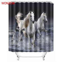 WONZOM Animal Horse Shower Bathroom Waterproof Accessories Curtains For Decor Modern Bath Curtain with 12 Hooks