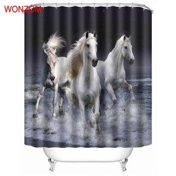 wonzom dier paard douche badkamer waterdichte accessoires gordijnen voor decor moderne bad gordijn met 12 haken