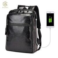 AHRI Fashion Men Business Casual School Travel Backpack Brown PU Leather Men S Shoulder Bags Vintage
