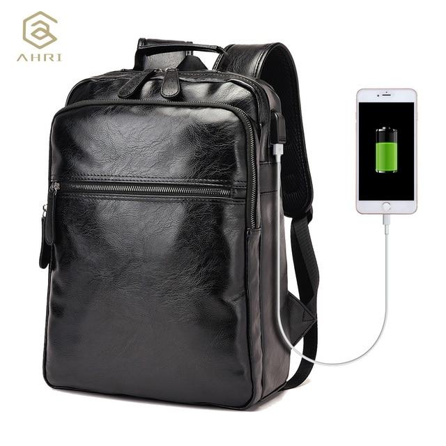 AHRI Men Business Casual Backpacks for School Travel Bag Black PU ...