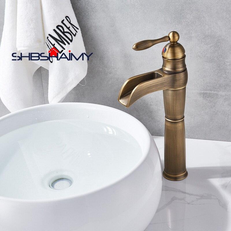 Antique Brass Single Handle Waterfall Bathroom Basin Faucet Deck Mounted Single Handle Mixer Tap ulgksd basin sink faucet deck mounted mixer tap antique brass single handle bathroom faucet