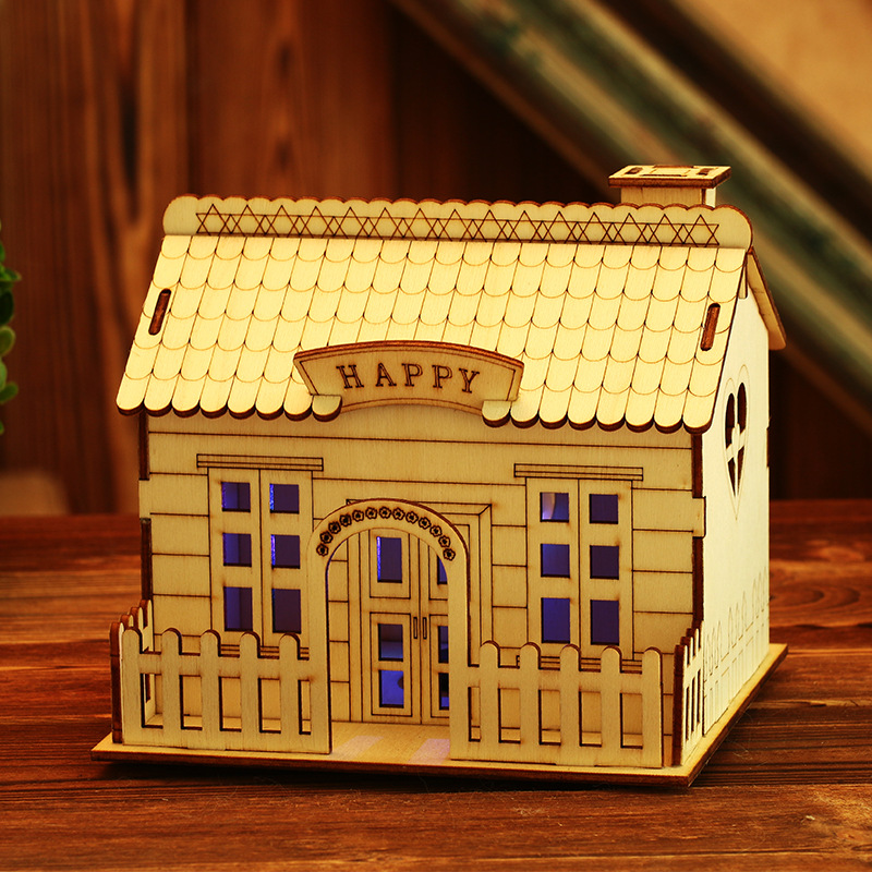 Wooden house flash coin piggy bank decoration ornaments coin bank money boxes for children student gift villa Money Safety Box