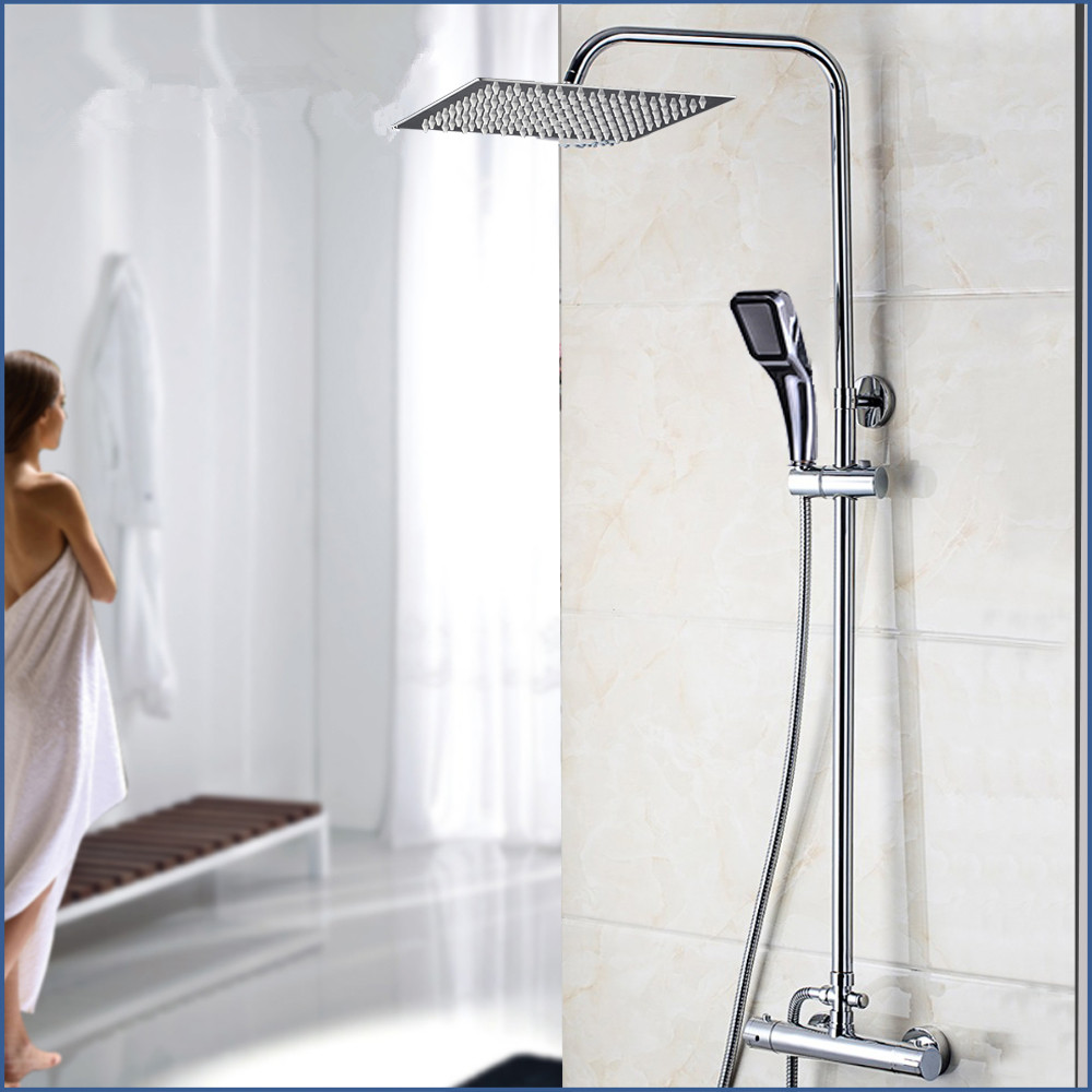 Bathroom Thermostatic Bathtub Shower Water Tap Faucet Mixer Tap 8 16 Inch Rainfall Shower Head Shower Set