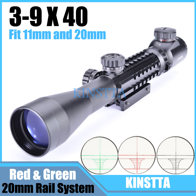Hlurker Tactical Hunting HD Clear Optics 3 9x40 Riflescope With 3 side Picatinny Weaver Rail System