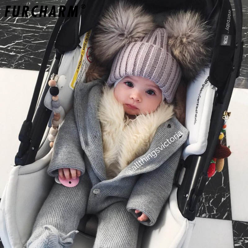 Baby Winter 100% Real Mink Fur Ball Beanie Knit Hat Kids Warm Raccoon Fur Pom Poms Skullies Beanies Wool Cap hats for Children skullies beanies mink mink wool hat hat lady warm winter knight peaked cap cap peaked cap