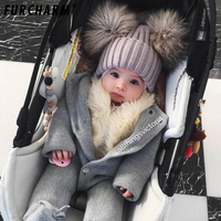 Baby Winter 100% Real Mink Fur Ball Beanie Knit Hat Kids Warm Raccoon Fur Pom Poms Skullies Beanies Wool Cap hats for Children