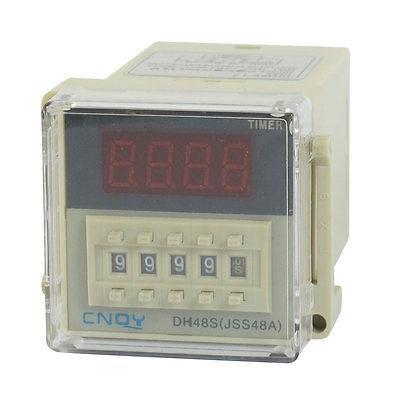 DH48S-1Z 8-Pin SPST 0.01S-9999H AC/DC12V/24V AC220V/380V/110V LCD Display Time Timer Delay Relay with Socket
