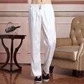 Venta caliente Blanco Chino Masculino Satén Taichi Pantalones hombres Tradicional Kung Fu Wu Shu Pantalones Tamaño Sml XL XXL XXXL 2519-1
