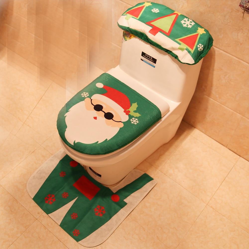 3 шт. рождественское сиденье для унитаза и чехол Санта Клаус коврик для ванной комнаты Рождественский милый Декор рождественские украшения для дома товары для дома - Цвет: Green