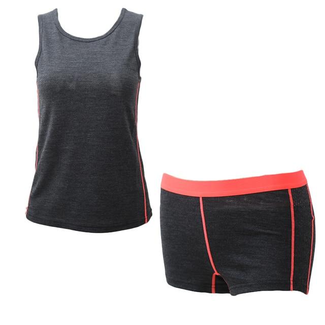 Women's 60% Merino Wool Sports Set Outdoor Hiking Merino Wool Top and Bottom Soft Wicking Breathable Anti-Odor Euro Size 3