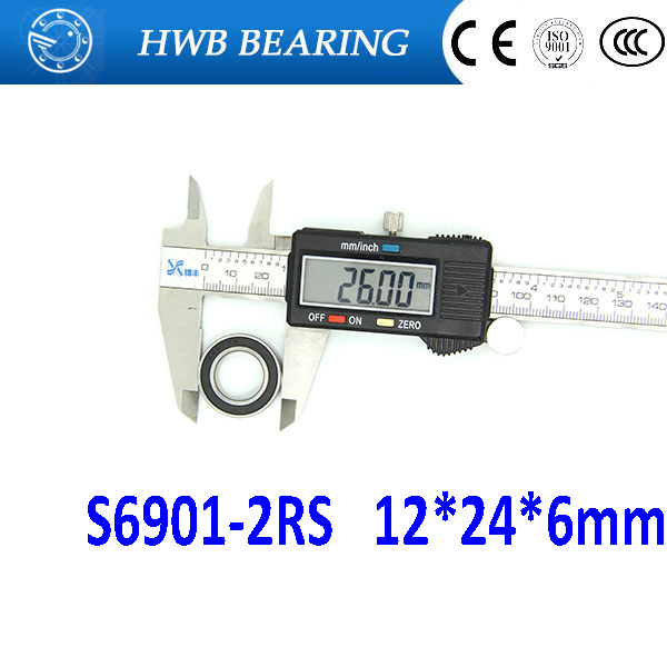 Free shipping S6901-2RS stainless steel 440C hybrid ceramic deep groove ball bearing 12x24x6mm 6901 61901 best price 10 pcs 6901 2rs deep groove ball bearing bearing steel 12x24x6 mm