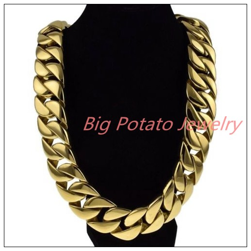 24/28 Cool Jewelry Huge Heavy Curb Cuban Chain Gold 316L Stainless Steel Men's Necklace 24/31mm Christmas Gift