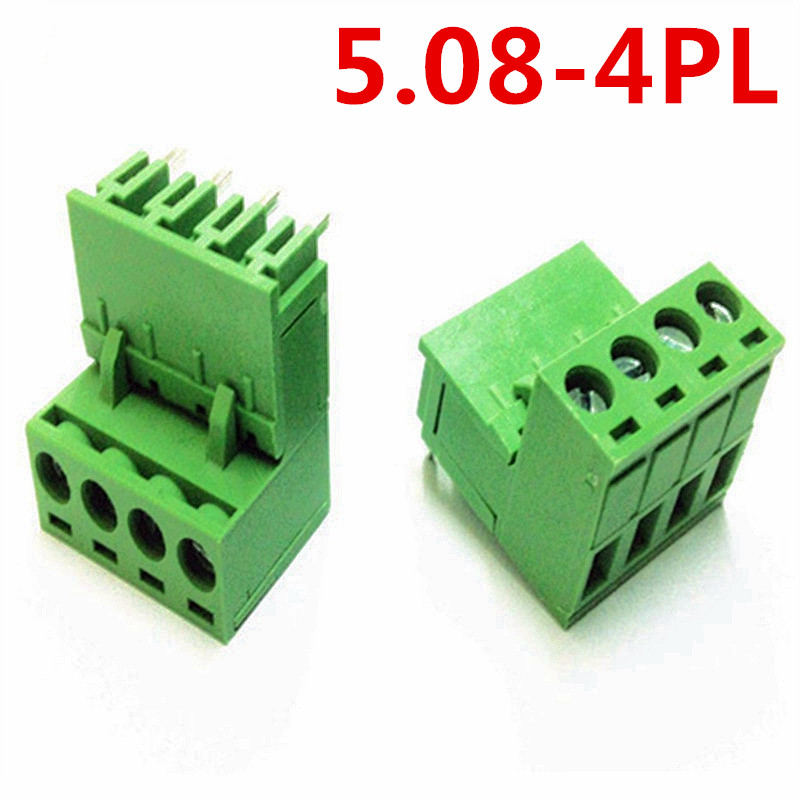 10sets 4 Pin 5.08mm pitch 300V 10A Universal Plug Type Bend pin Green wire connectors screw terminal block Pin header and socket