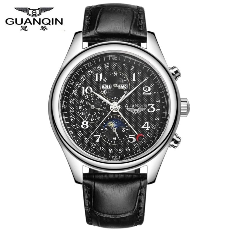 Watches Men Luxury Brand GUANQIN Automatic Mechanical Watch Waterproof Perpetual Calendar Leather Wristwatch relogio masculino