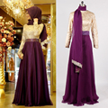 Real Picture Long Sleeve Muslim Evening Dress 2017 Hijab Abaya Moroccan Kaftan Bow Beaded Formal Prom Gowns Evening Dresses