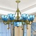 Современный Европейский Средиземноморский синий свет для бара  клуба  магазина  купольный свет 6 головок 8 + 1 лампа Подвесные светильники ...
