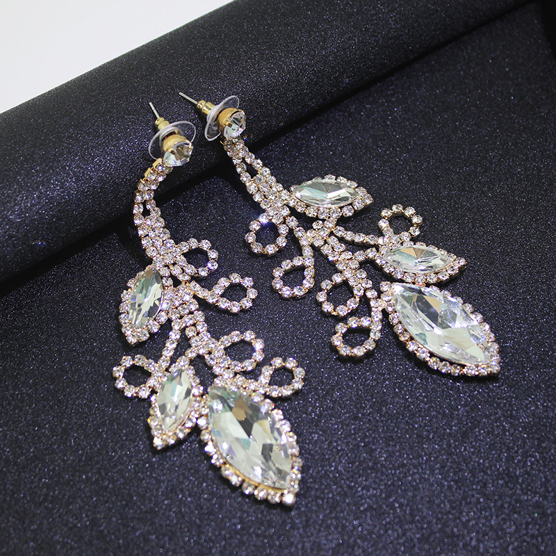 Dubbele schudden Crystal Flowe grote lange oorbellen opknoping pave - Feestversiering en feestartikelen - Foto 4