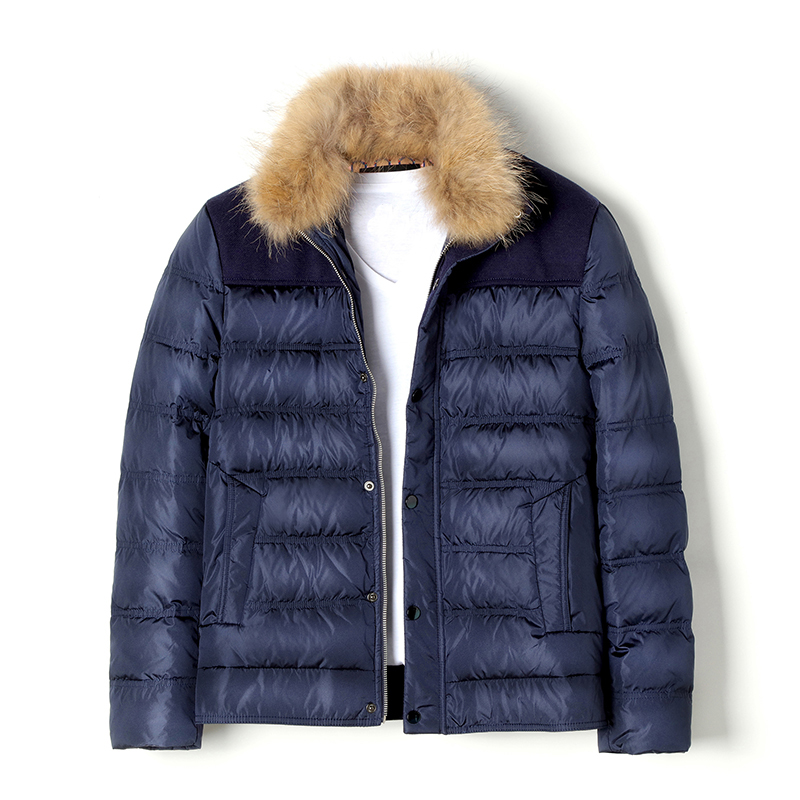 Natural Raccoon Fur Collar Mens Duck Down Coat Outerwear Men Block Color Thickening Warm Winter Down Jackets ES-8006AUK