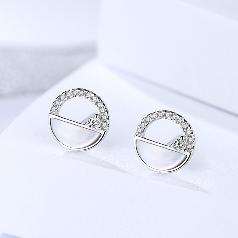 Fashion 100% real 925 sterling silver stud earrings for women pure S925 silver cubic zirconia shell earing jewelry accessories
