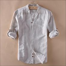 Мужские летние льняные рубашки с v-образным вырезом и длинным рукавом, модные облегающие летние рубашки в китайском стиле для мужчин, одежда Wt1050