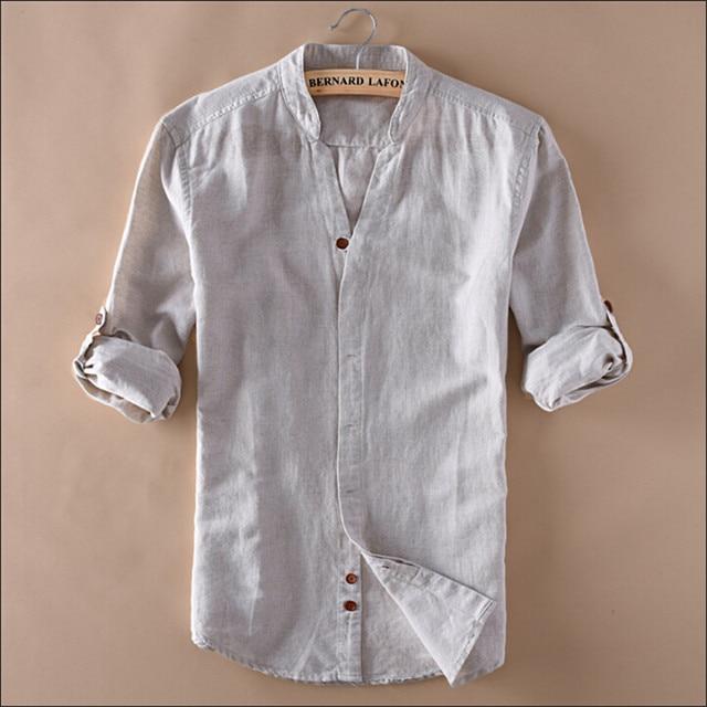 Man Summer Linen Shirts V Neck Long Sleeve Fashion Slim
