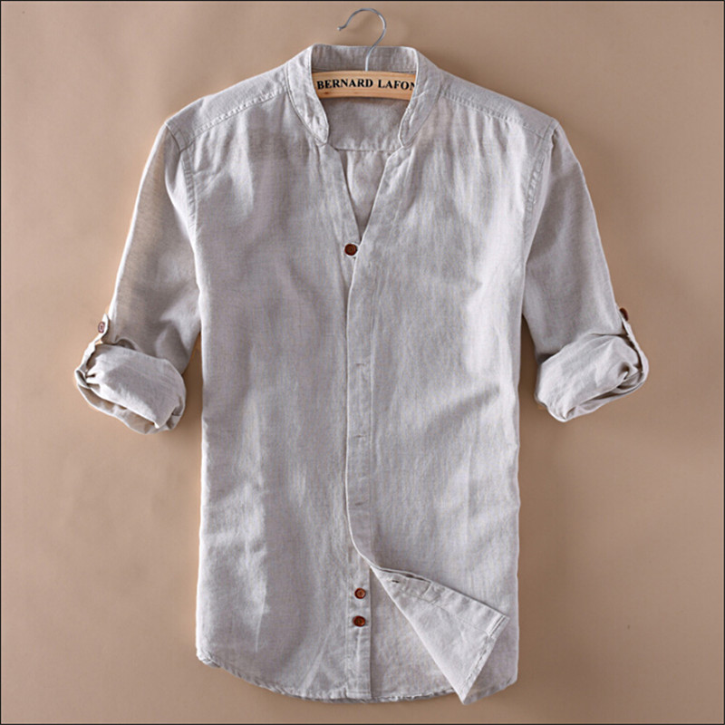 Man Summer Linen Shirts V Neck Long Sleeve Fashion Slim Fit Chinese Style Summer Shirt For Man Clothing Wt1050