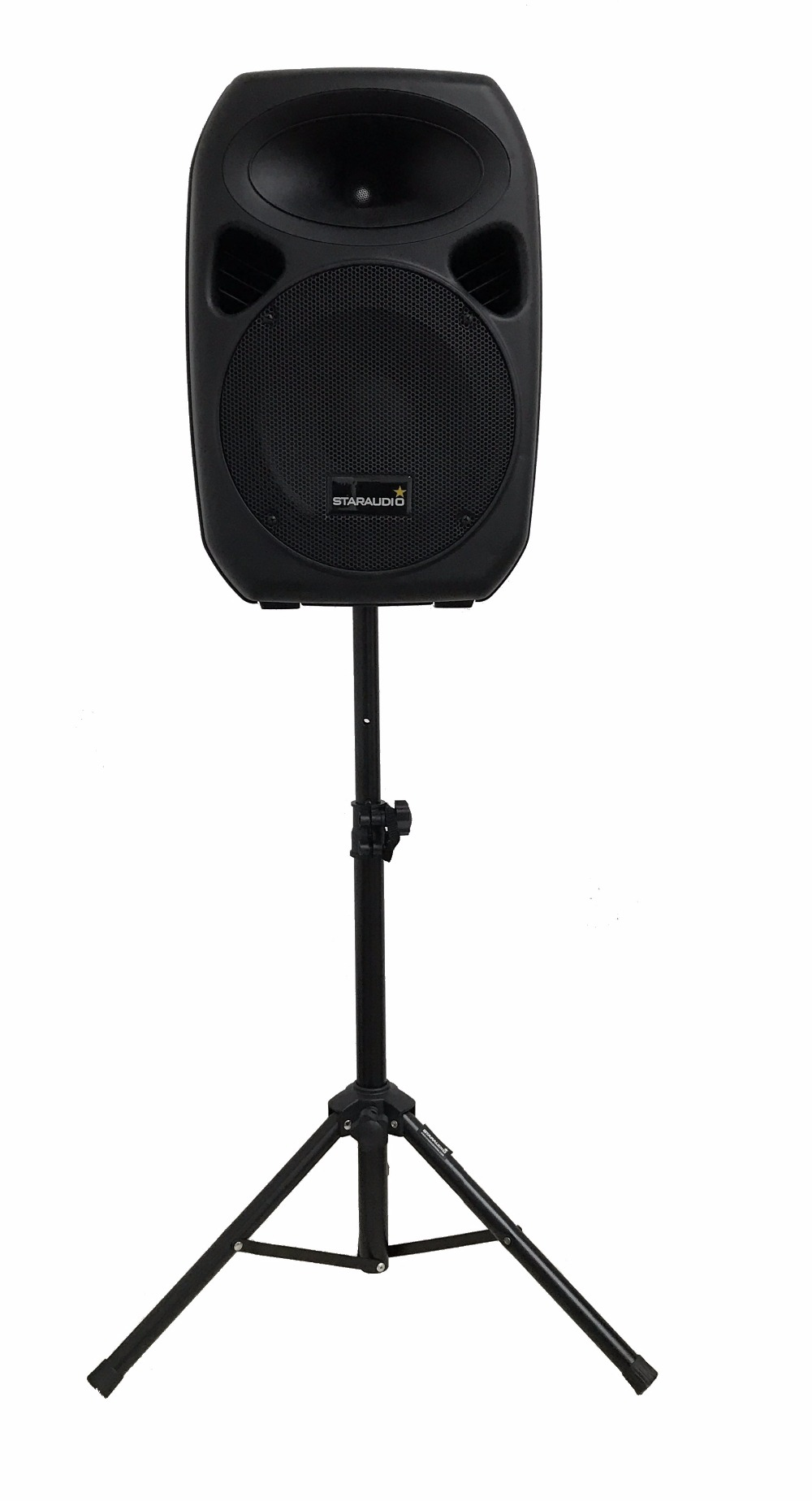 STARAUDIO 2Pcs 1500W 10″ PA DJ Speakers W/ 2 Stands 1 Powered Mixer 2 Cables 1Wired Microphone SSD-10A
