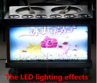 2016 Newest LED Lighting Double Pan 6cooling Buckets Fried Ice Cream Roll Machine Fried Ice Pan