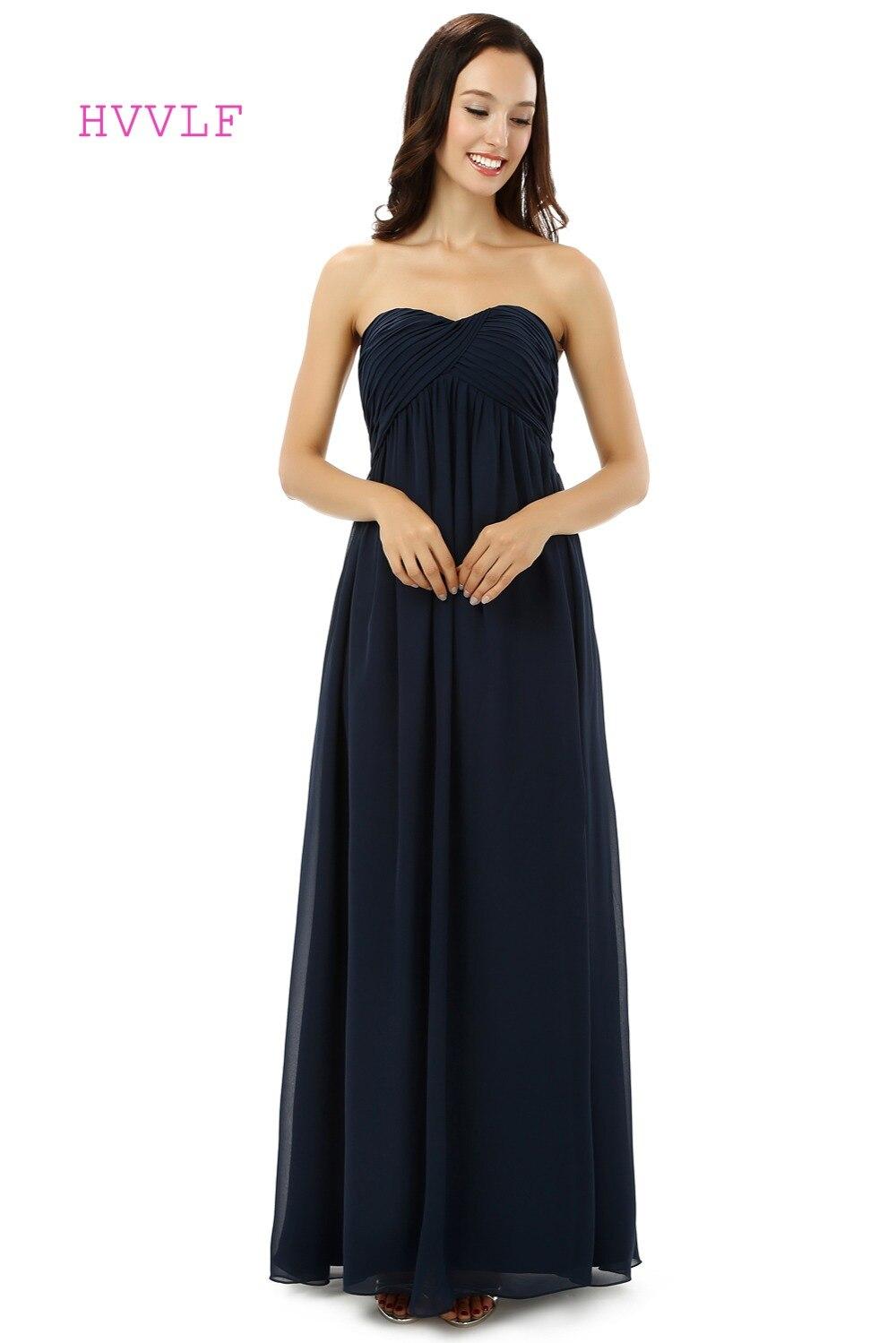 Bleu marine 2019 pas cher robes de demoiselle d'honneur moins de 50 a-ligne chérie étage longueur en mousseline de soie longues robes de fête de mariage