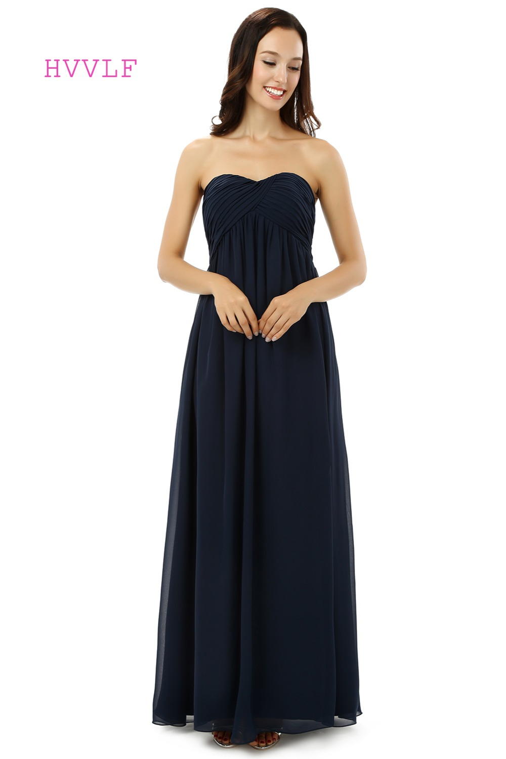Navy Blue 2019 Cheap   Bridesmaid     Dresses   Under 50 A-line Sweetheart Floor Length Chiffon Long Wedding Party   Dresses