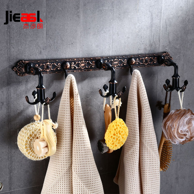 Aluminum Antique Bathroom Towel Hook Black Coat Hanger Vintage Hooks Metal Robe Activity Hanging