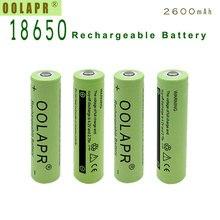 Oolapr Зеленый Бесплатная доставка 2×18650 2600 мАч литий-ионный Перезаряжаемые 3.7 В Батарея для фонарика новые 18650 Батарея