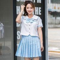 UPHYD Sky Blue Super Cute Girls Japanese School Student Uniforms Set Short Sleeve Orthodox Sailor Suit Anime Uniform XJ7303
